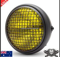"Black amber Grill 7"" headlight chopper bobber cafe racer yamaha Honda scrambler"