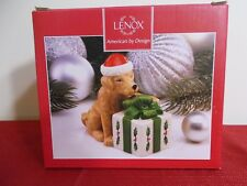 New Lenox Holiday Dog & Present Salt and Pepper Shaker ~ Very Cute!