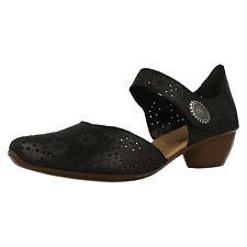 Ladies Rieker 43711 Leather Smart Open Side Shoes UK 6 EU 39 Black