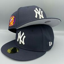New York Yankees 50th Anniversary New Era MLB Fitted Navy Blue Hat Gray Bottom