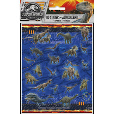 Jurassic World Fallen Kingdom Party Sticker Sheets - 4 sheets, 80 stickers