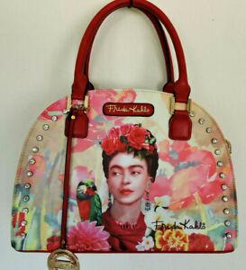 FRIDA KAHLO Flower Series w Rhinestones Large Satchel Messenger Bag  Authentic