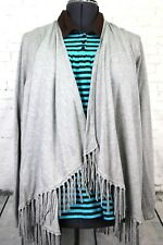 NWT Central Park West, Bonay Fringe Detail Cardigan, Women's XL Grey Sweater NEW