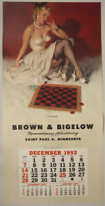 Vintage 1952 Gil Elvgren Pin-Up Poster Calendar Blank Chess Game It's Your Move
