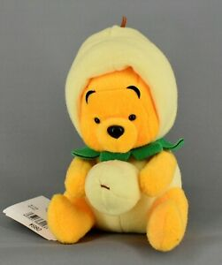 """DISNEY Store Winnie the Pooh Plush with Pear Costume Vintage 6"""" Japan"""