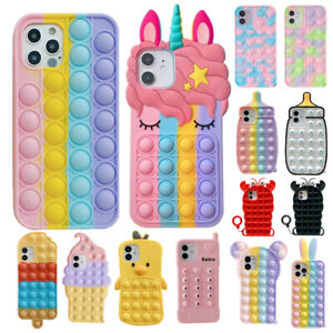 3D Silicone Fidget Stress Relief Case Cover For Apple iPhone 4 5 6 7 8 X 11 12