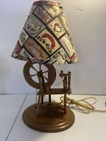 Vintage Wooden Spinning Wheel Table Lamp