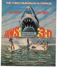1983 JAWS 3-D Vintage Movie Promo Print Ad