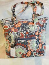 VERA BRADLEY Villager Tote Bag Purse NOMADIC FLORAL Orange Gray Flowers $85