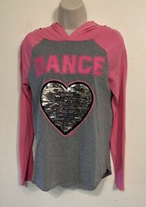 Justice girls gray/pink graphic print hooded t-shirt w/sequins size 14/16