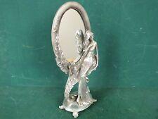 Stand Spiegel Frisierspiegel Spiegel Silberfarben mit Jugendstil Frau verziert