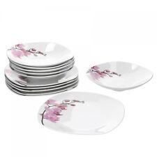 Tafelservice 12-tlg. Kyoto Orchidee eckig Porzellan 6 Personen weiß Dekor Teller