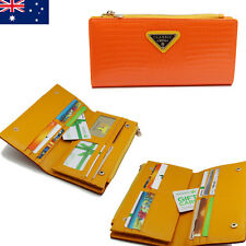 20 Card Inserts Large Capacity Genuine Leather Ladies Womens Wallet Purse Orange