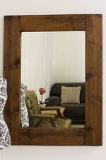 Large Rustic Natural Solid Wood Brown Wall Mounted Mirror 4ft X 3ft 122x91cm