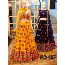Yellow Lehenga Choli Indian Ethnic Wedding Bridal Wear Lengha Chunri Lahanga Net