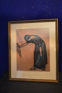 Gemälde Original-Radierung Portrait Handsigniert