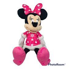 "New listing Disney Minnie Mouse 24"" Plush Toy Stuffed Animal Pink Snowflake Dress Bow"