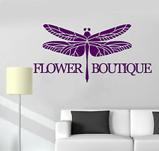 Vinyl Wall Decal Flower Boutique Logo Dragonfly Decor Stickers (ig4777)