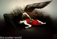 Set Of 2 Dark Gothic Angel Holding his Fallen Bride & Gloomy Red Poppy Poster