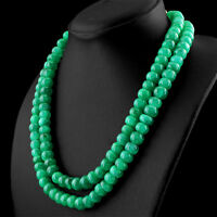719.00 CTS EARTH MINED 2 STRAND RICH GREEN EMERALD ROUND SHAPE BEADS NECKLACE