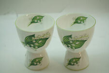 SHELLEY CHINA LILY OF THE VALLEY EGG CUP SET 2 DAINTY SHAPE PORCELAIN ENGLAND