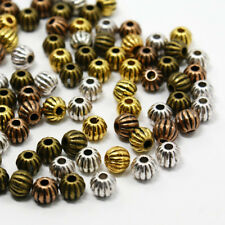 200 g Nickel Free Tibetan Style Corrugated Beads Alloy Round Spacer Beads 7mm