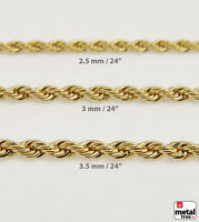 Men's Women's 14K Gold Plated Bling Rope Chain Necklace for Micro Mini Pendant