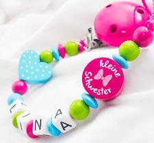 Schnullerkette mit Namen �˜… KLEINE SCHWESTER �˜… Mädchen Baby �˜… Herz rosa Holz pink