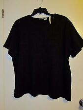 CLASSIC ELEMENTS women plus size 22W BLACK short sleeve fancy tee shirt EUC #526