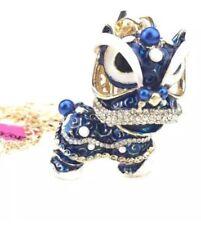 Betsey Johnson Necklace Lion Dragon Kiren Blue Gold Enamel Lion  Dragon Crystals