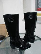 Gucci Black Rubber GG Logo Rain Boots size 35- 5 US