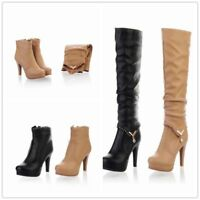 Women Detachable Platform High Heel Shoes Over Knee High Thigh Slim Boots Winter