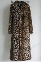 USL Leopard Women's Super Long Faux Fur Coat Trench Full Length Jacket Overcoat