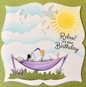 Handmade Susie Mouse Scene Relax it's Your Birthday Card Topper FLAT RATE UK P&P