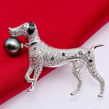 4.91ct NATURAL ROUND DIAMOND 14K WHITE GOLD PEARL ONYX RUBY GEMSTONE DOG BROOCH