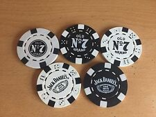 5 ASSORTED  GENUINE  JACK DANIELS POKER CHIPS   FROM 2008/12