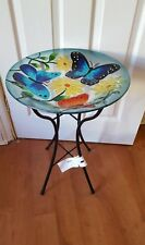 GERSON Bird Bath,Butterflies/Flowers, top quality Glass With Metal Stand 22.8 In