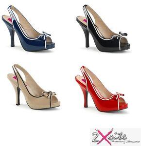 Pleaser PINUP 10 Rosa Label 11.4cm Zapatos de Salón Tacón Alto Peep Toe Trasera