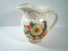 """Vintage Ceramic Water Pitcher Vase Floral Accents Handmade in the Usa 5 1/2"""""""