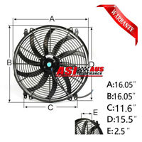 "16"" Inch Pull&Push Radiator Electirc Thermo Curved Blade FAN+MOUNTING Pick up"