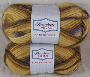 Herrschners Home Yarn Soho Stripes Country Wool Variegated Purple Yellow  Lot 2