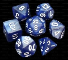 NEW 7 Piece Polyhedral Dice Set - Midnight Sky Dark Blue Marble - Navy Blue Bag