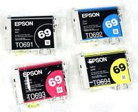 4pk Genuine Epson 69 Black & Color Ink NX200 NX300 NX305 NX400 NX415 NX510 NX515