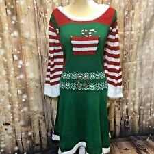 Just Found Holiday Time Women's Ugly Christmas Sweater Santas Elf Dress NWT 3X