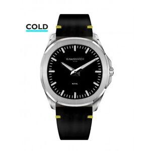 Kamawatch Miami Royal Black Leather Suede Strap Wristwatch KWPM34 RRP £149