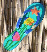 NIP - Tropical Fish, Sea Star & Shells Design on Metal Flip-Flop Plaque 18x6.5in