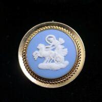 Vtg Wedgwood Jasperware Greek Chariot Cameo 12k Gold Filled Brooch Pin Pendant