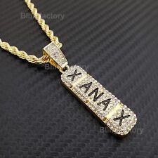 "Hip Hop Iced Lab Diamond Xanax Pendant & 4mm 24"" Rope Chain Fashion Necklace"