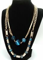 """Vera Wang Signed Two Strand Gold Tone Blue Faceted Stone Necklace 17"""" + 2"""" Ext."""