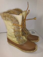 Sorel Beige Brown Boots Winter Snow Square Toe Womens Size 8